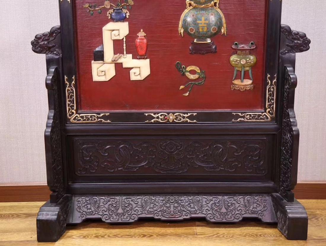 A ZITAN AND LACQUER DECORATED SCREEN - 4