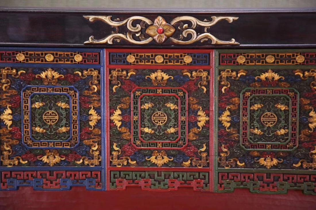 A ZITAN AND LACQUER DECORATED SCREEN - 7