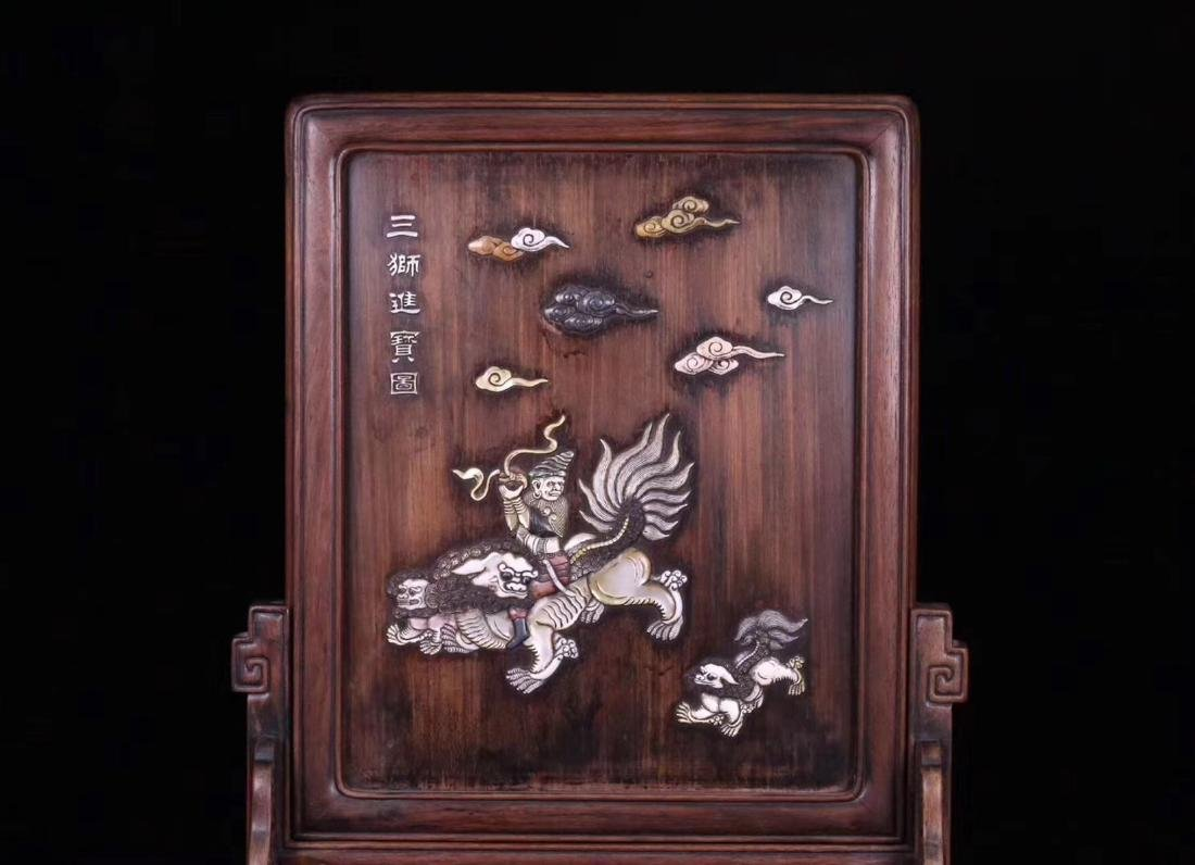 A RED SUANZHI WOOD WITH SHELL DECORATED SCREEN - 2