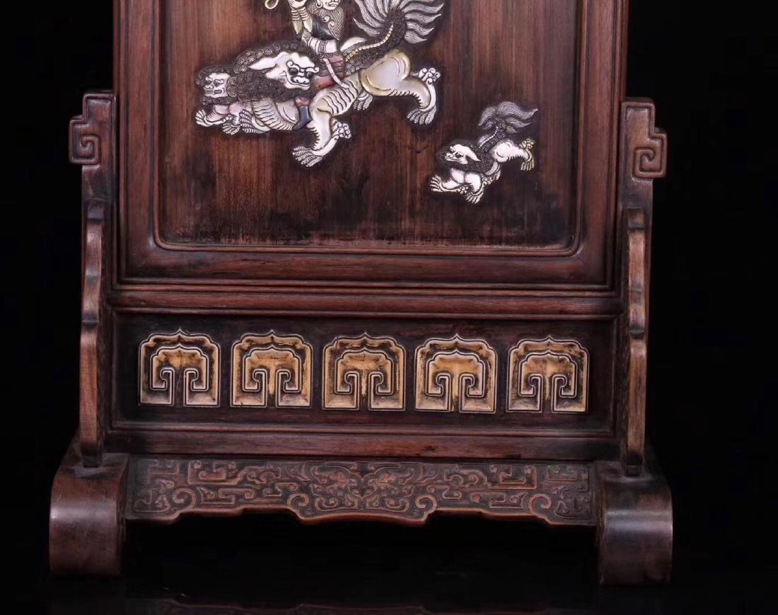 A RED SUANZHI WOOD WITH SHELL DECORATED SCREEN - 3