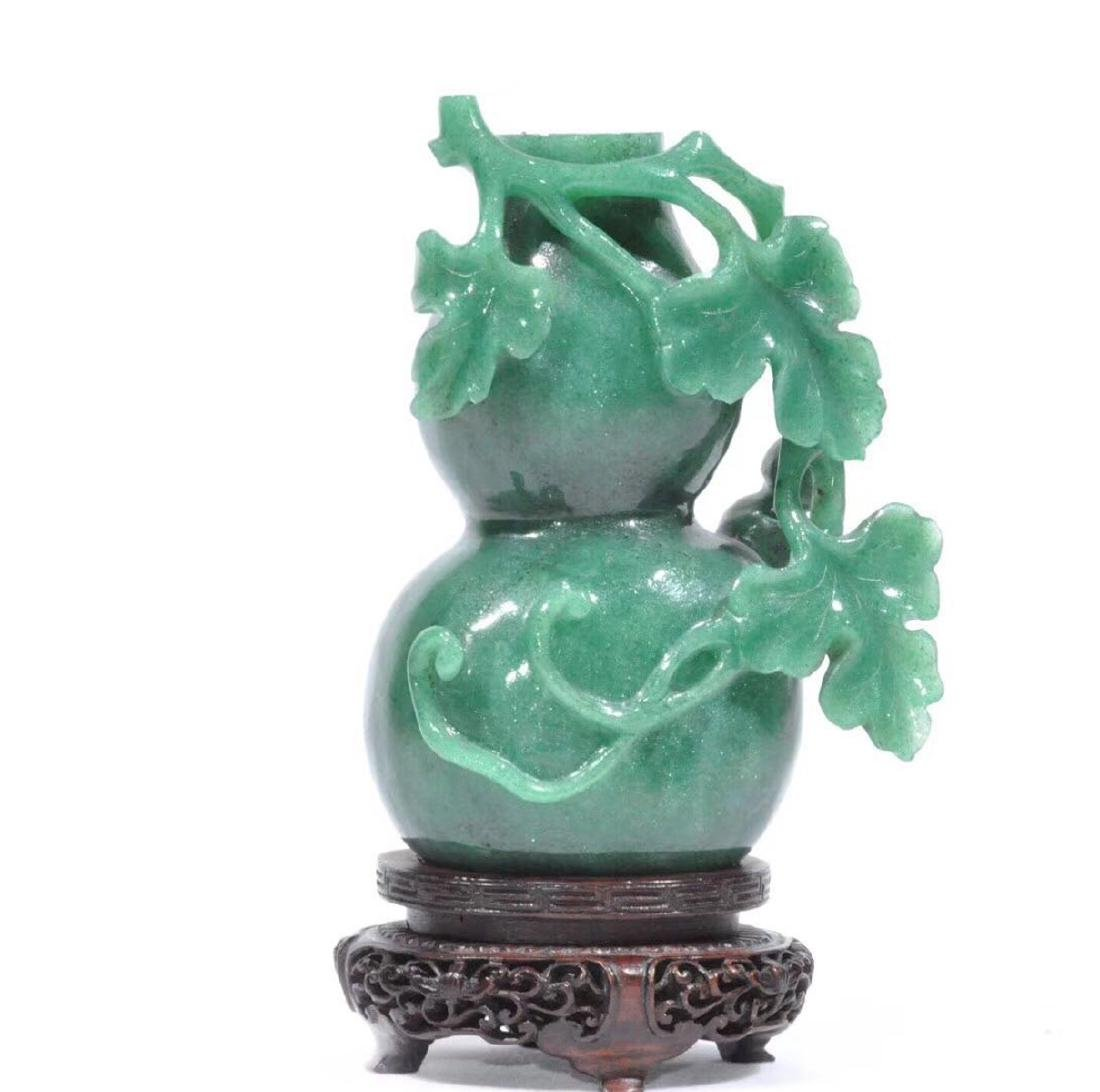 A DONGLING STONE CARVED GOURD SHAPE VASE - 5