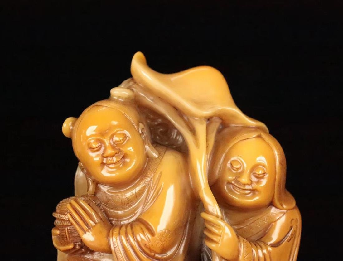 A TIANHUANG STONE CARVED FIGUE PENDANT - 6