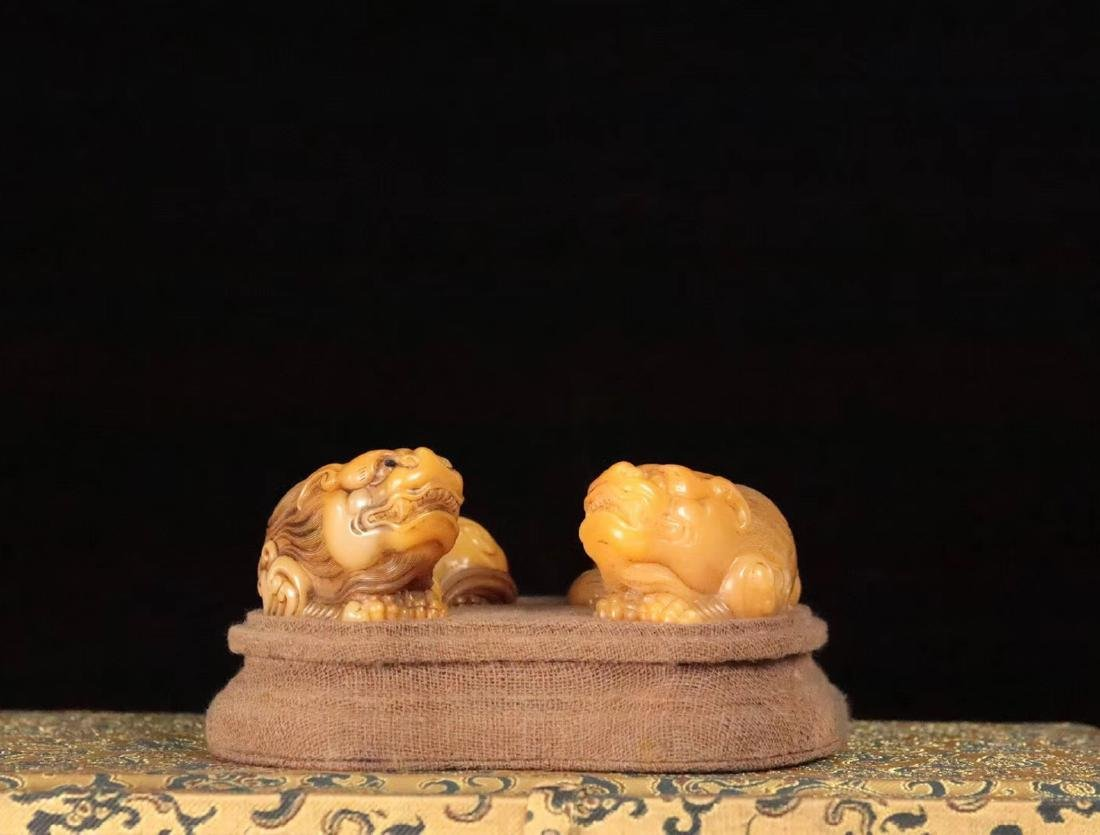 PAIR TIANHUANG STONE CARVED BEAST SHAPED PENDANT - 2