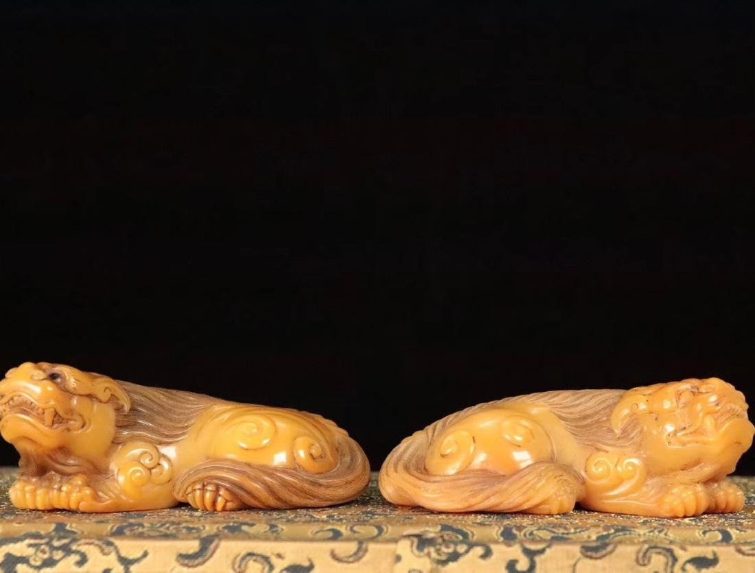 PAIR TIANHUANG STONE CARVED BEAST SHAPED PENDANT - 5
