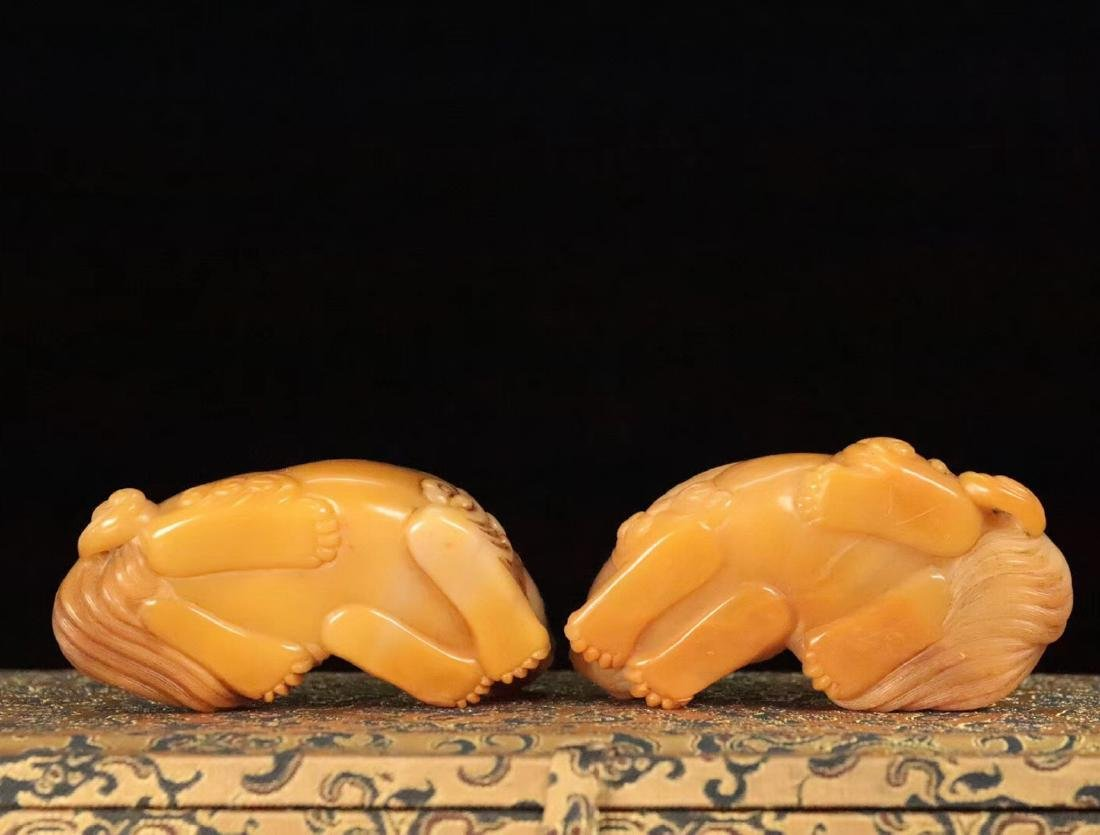 PAIR TIANHUANG STONE CARVED BEAST SHAPED PENDANT - 9