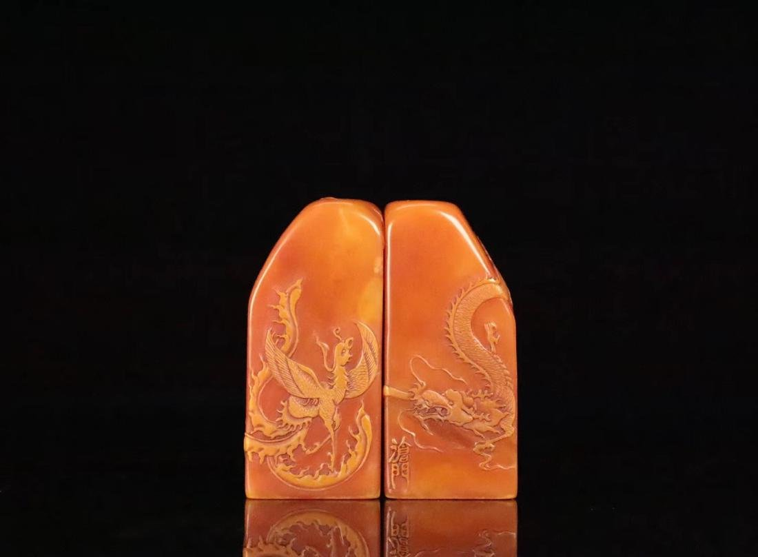 PAIR TIANHUANG STONE CARVED ANIMALS PATTEN SEALS - 3