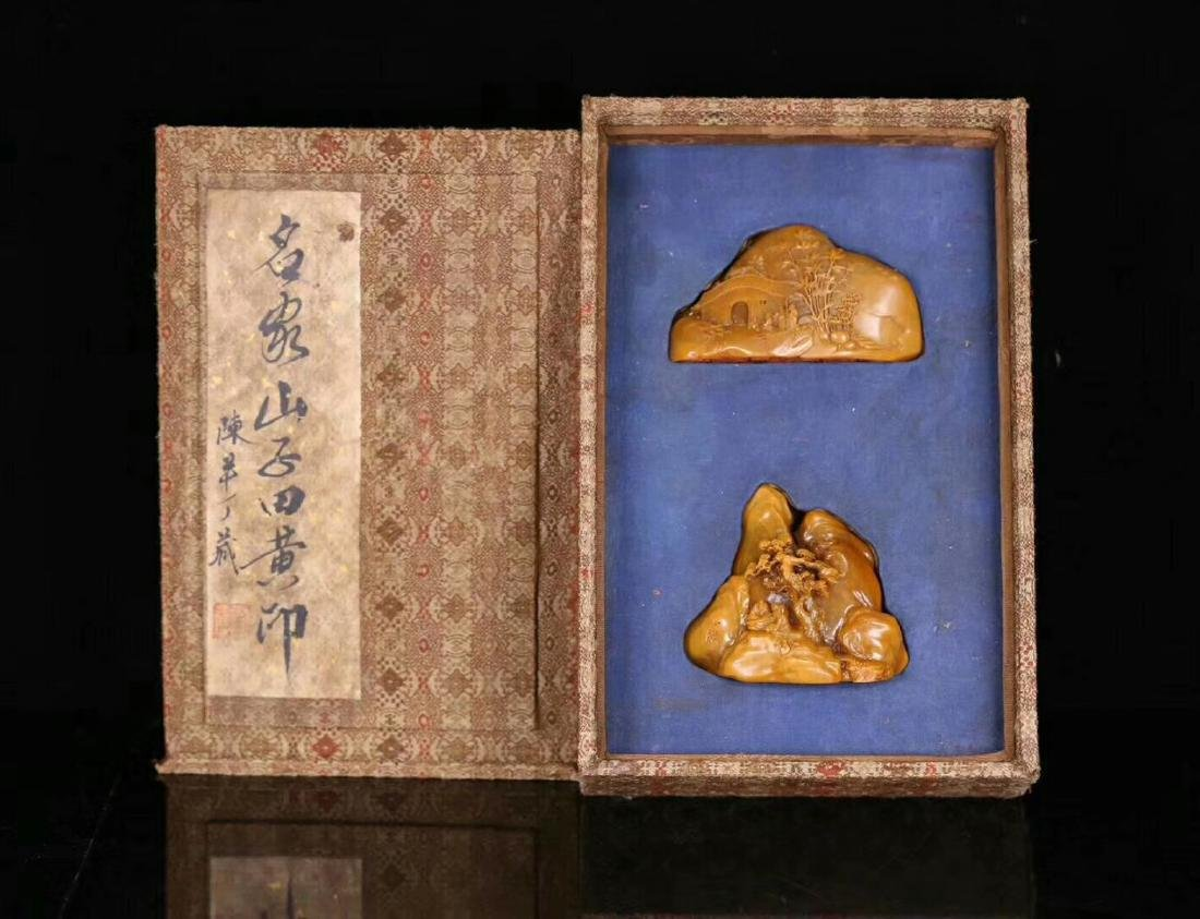 PAIR TIANHUANG STONE CARVED FIGURE SHAPED SEALS