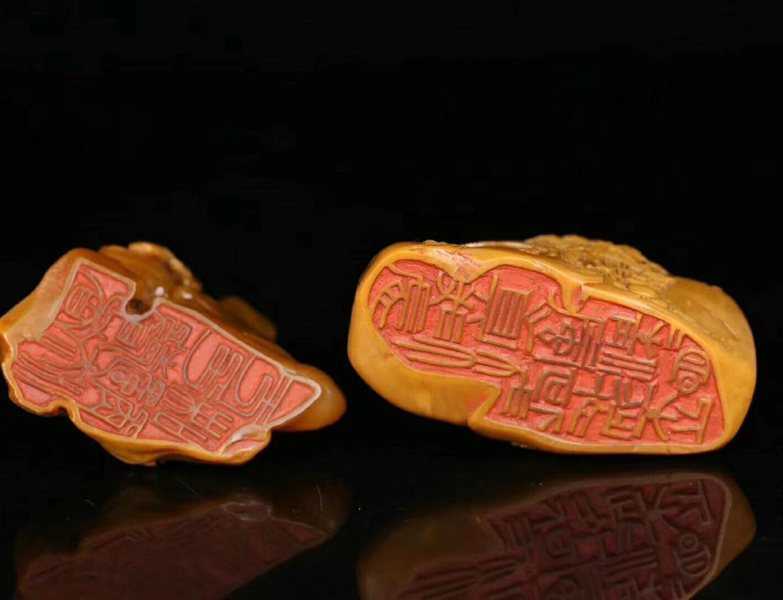 PAIR TIANHUANG STONE CARVED FIGURE SHAPED SEALS - 3