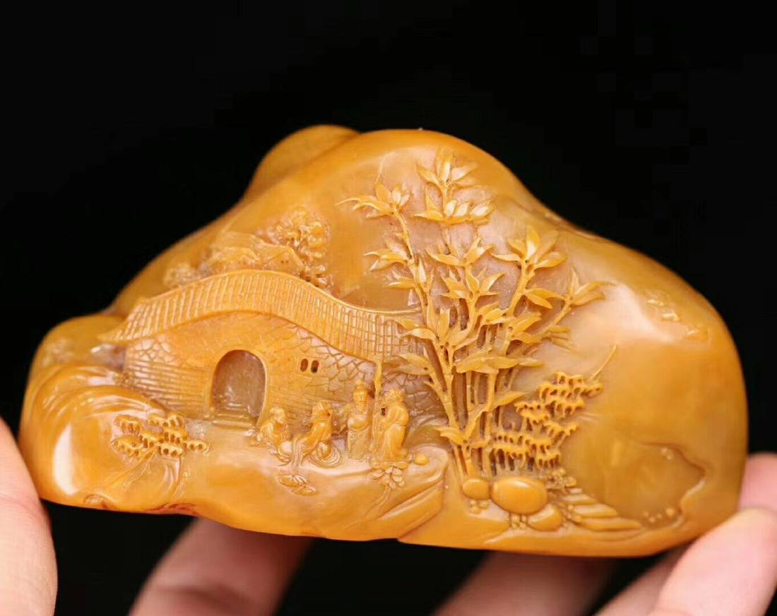 PAIR TIANHUANG STONE CARVED FIGURE SHAPED SEALS - 7