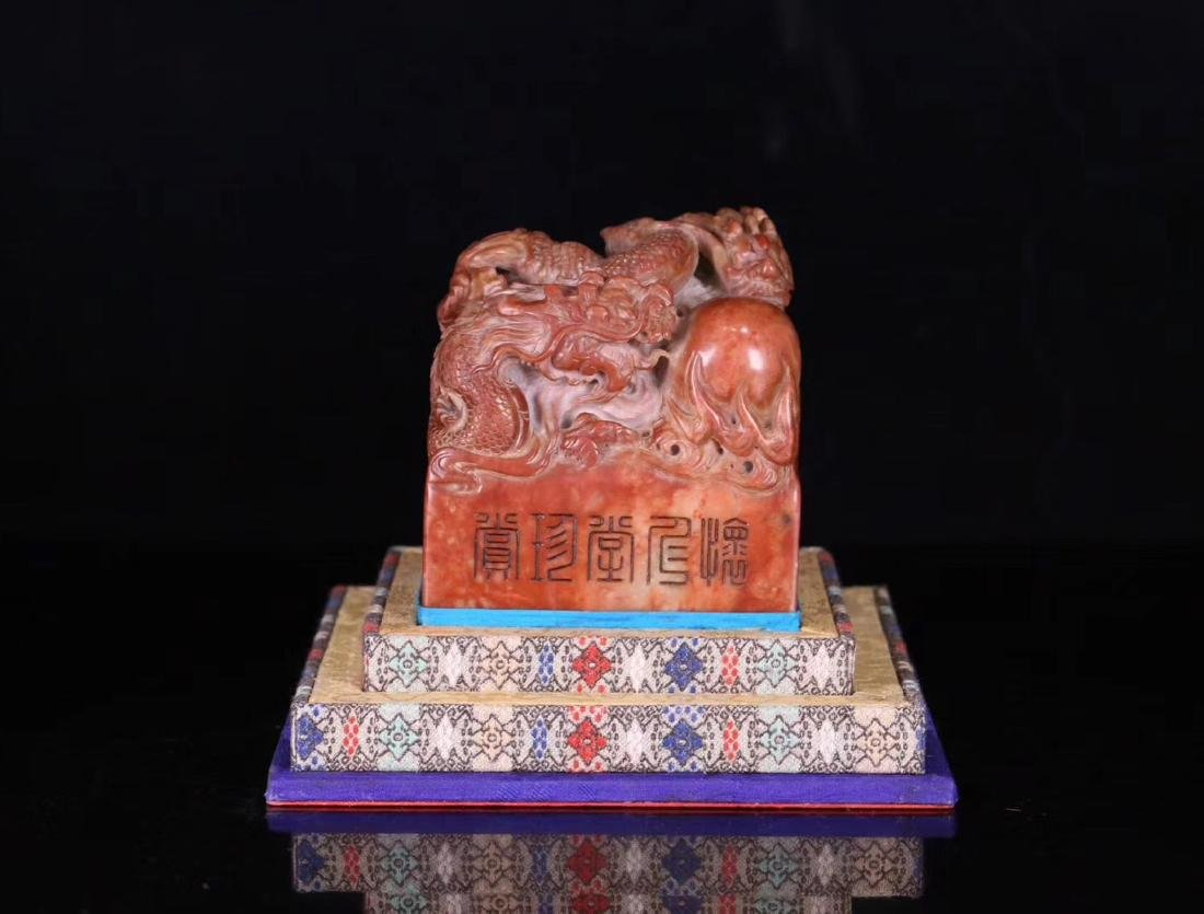 A SOAPSTONE CARVED DRAGON SHAPED SEAL - 2