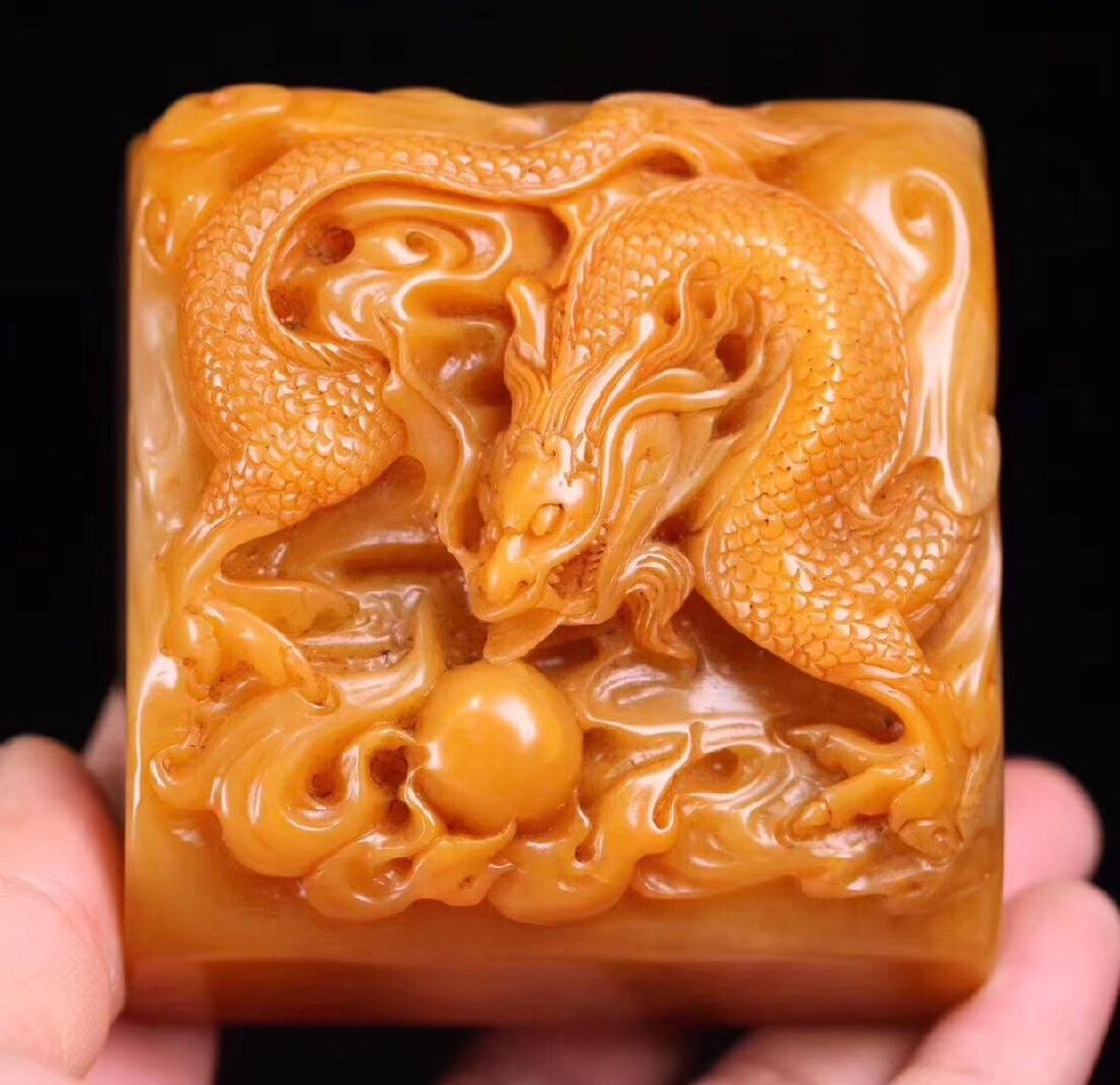 A TIANHAUNG STONE CARVED DRAGON SHAPED SEAL - 2
