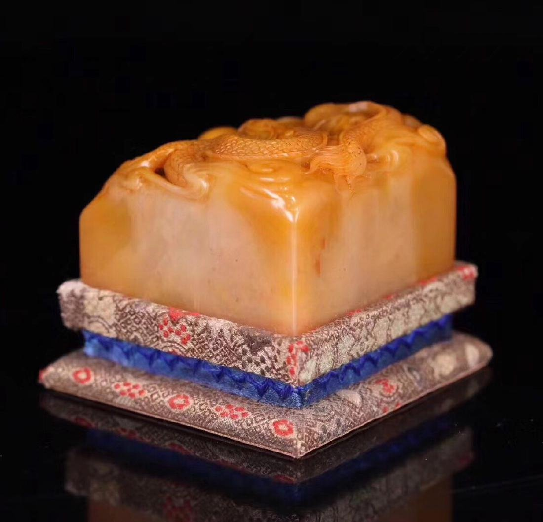 A TIANHAUNG STONE CARVED DRAGON SHAPED SEAL - 5