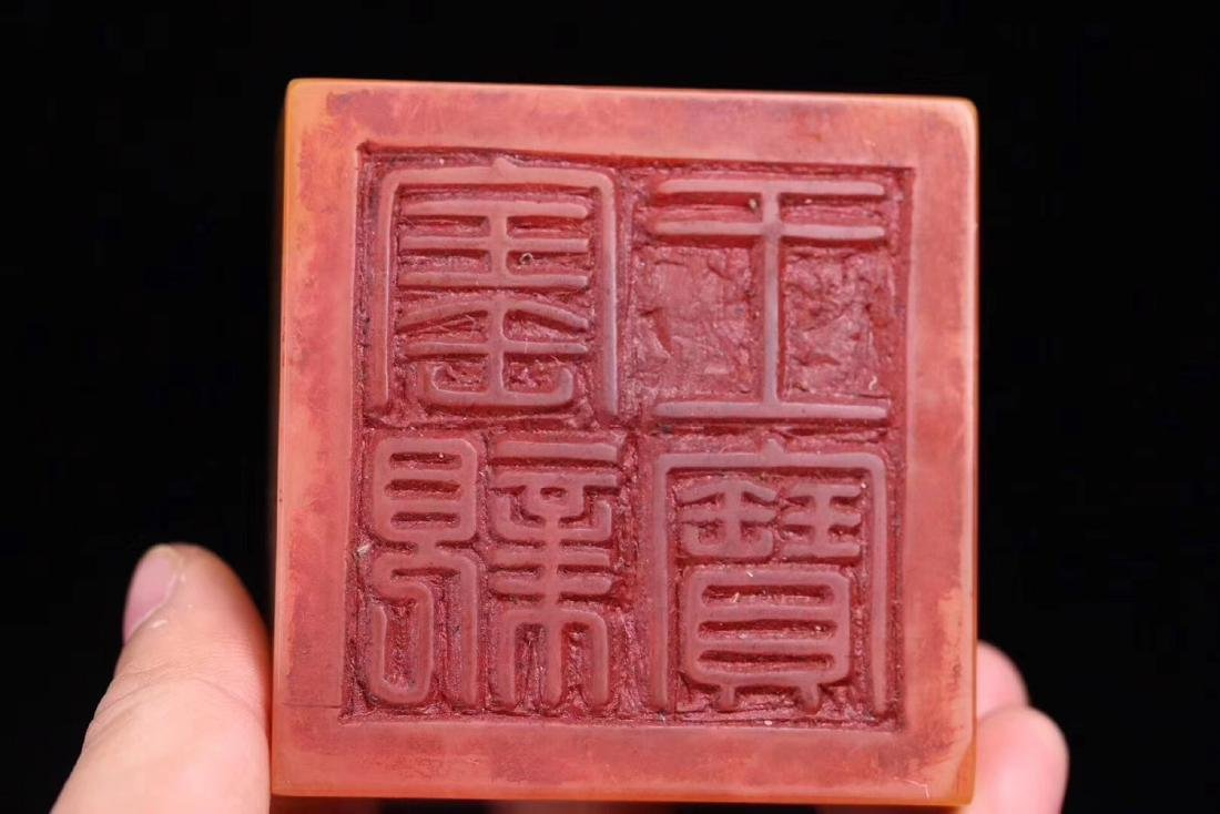A TIANHAUNG STONE CARVED DRAGON SHAPED SEAL - 9