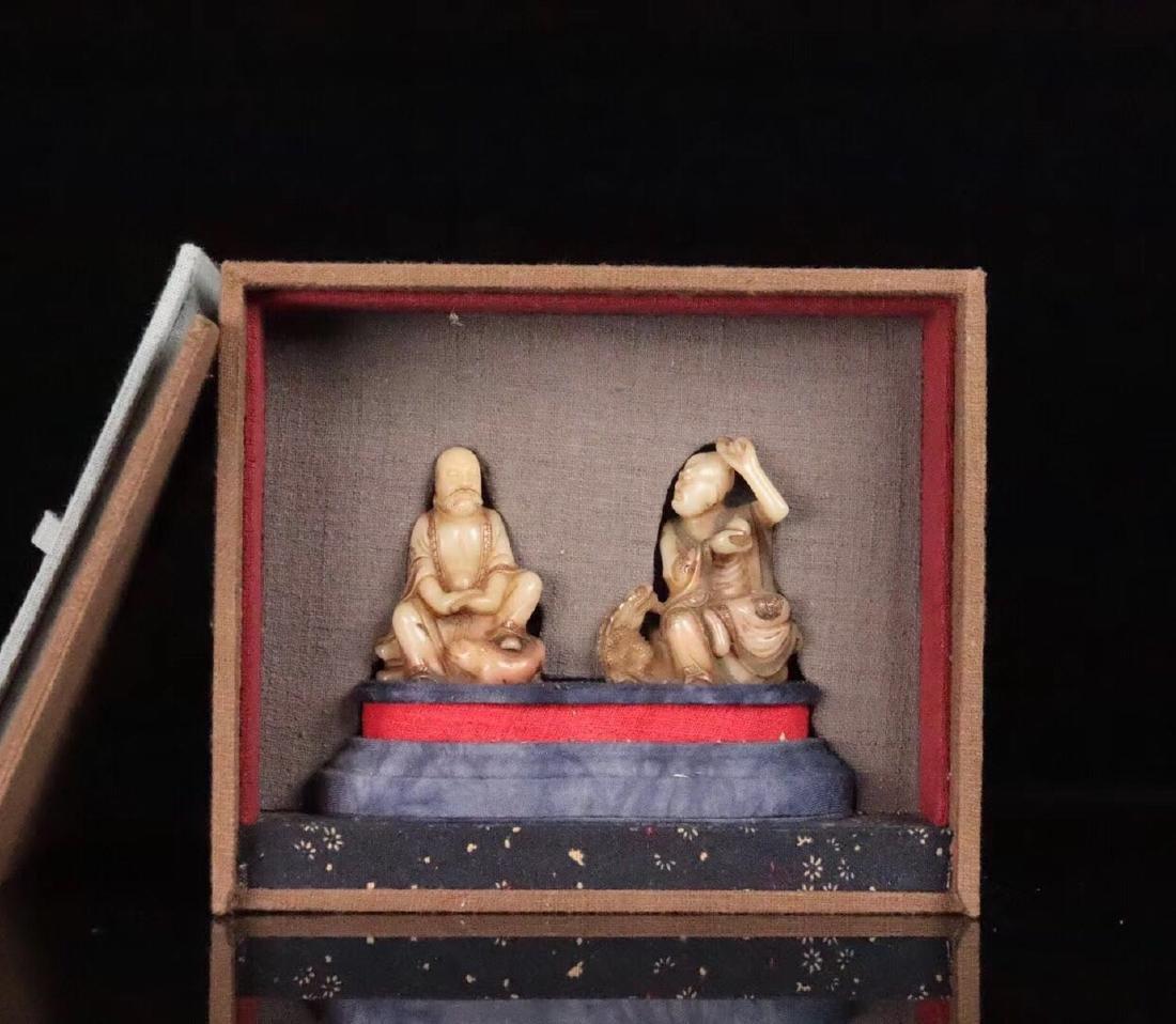 PAIR SHOUSHAN STONE XIANGLONGFUHU BUDDHA ORNAMENT - 3