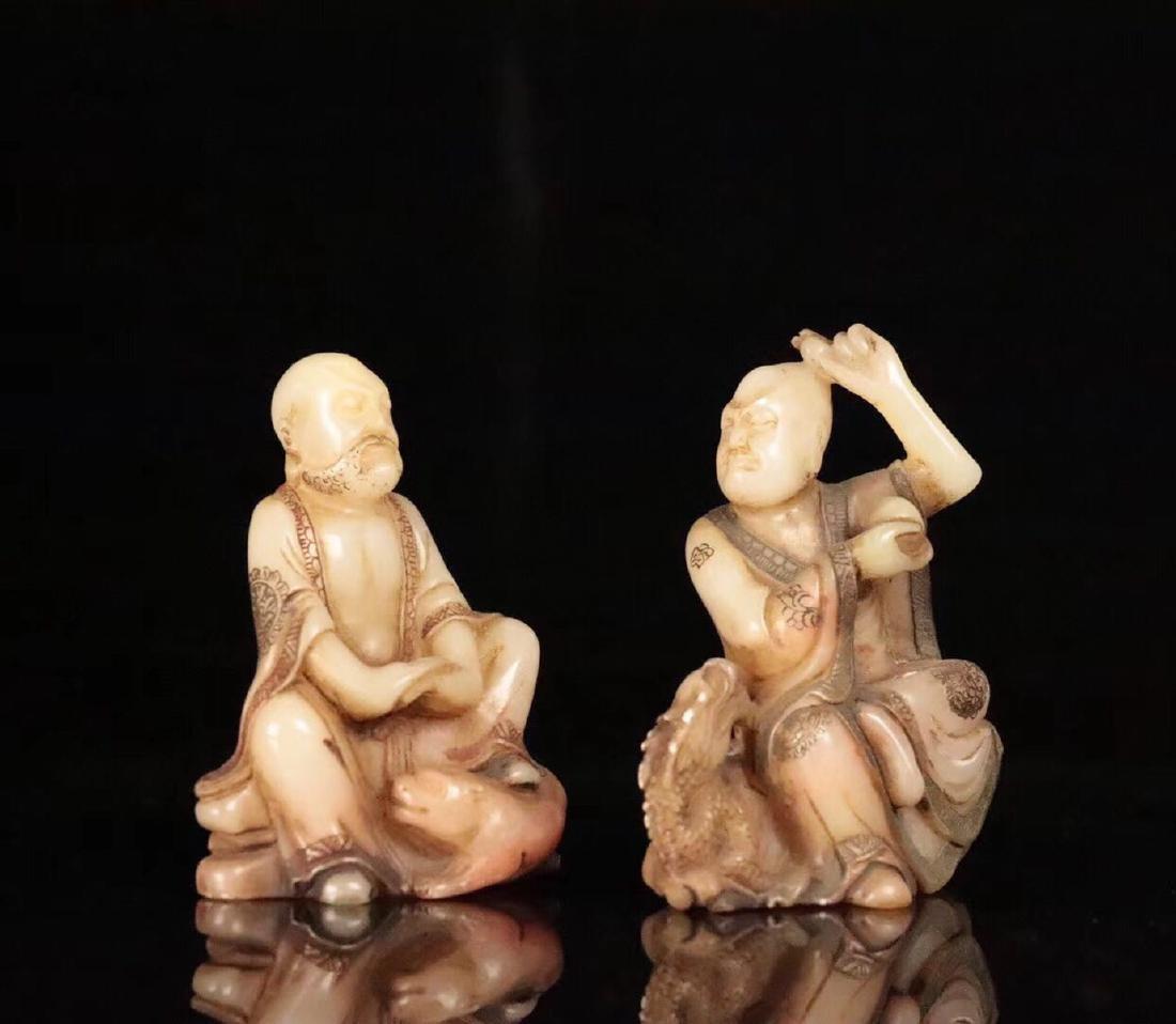 PAIR SHOUSHAN STONE XIANGLONGFUHU BUDDHA ORNAMENT - 7