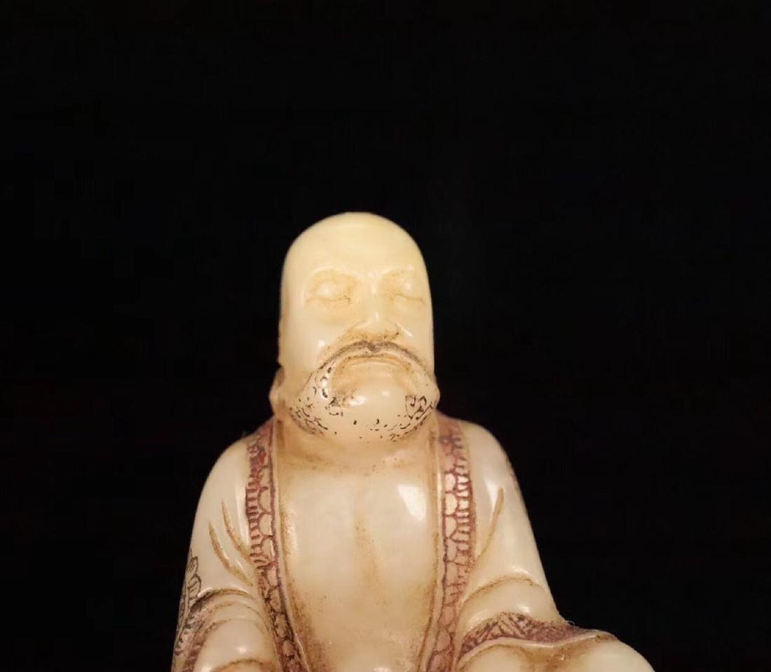 PAIR SHOUSHAN STONE XIANGLONGFUHU BUDDHA ORNAMENT - 8
