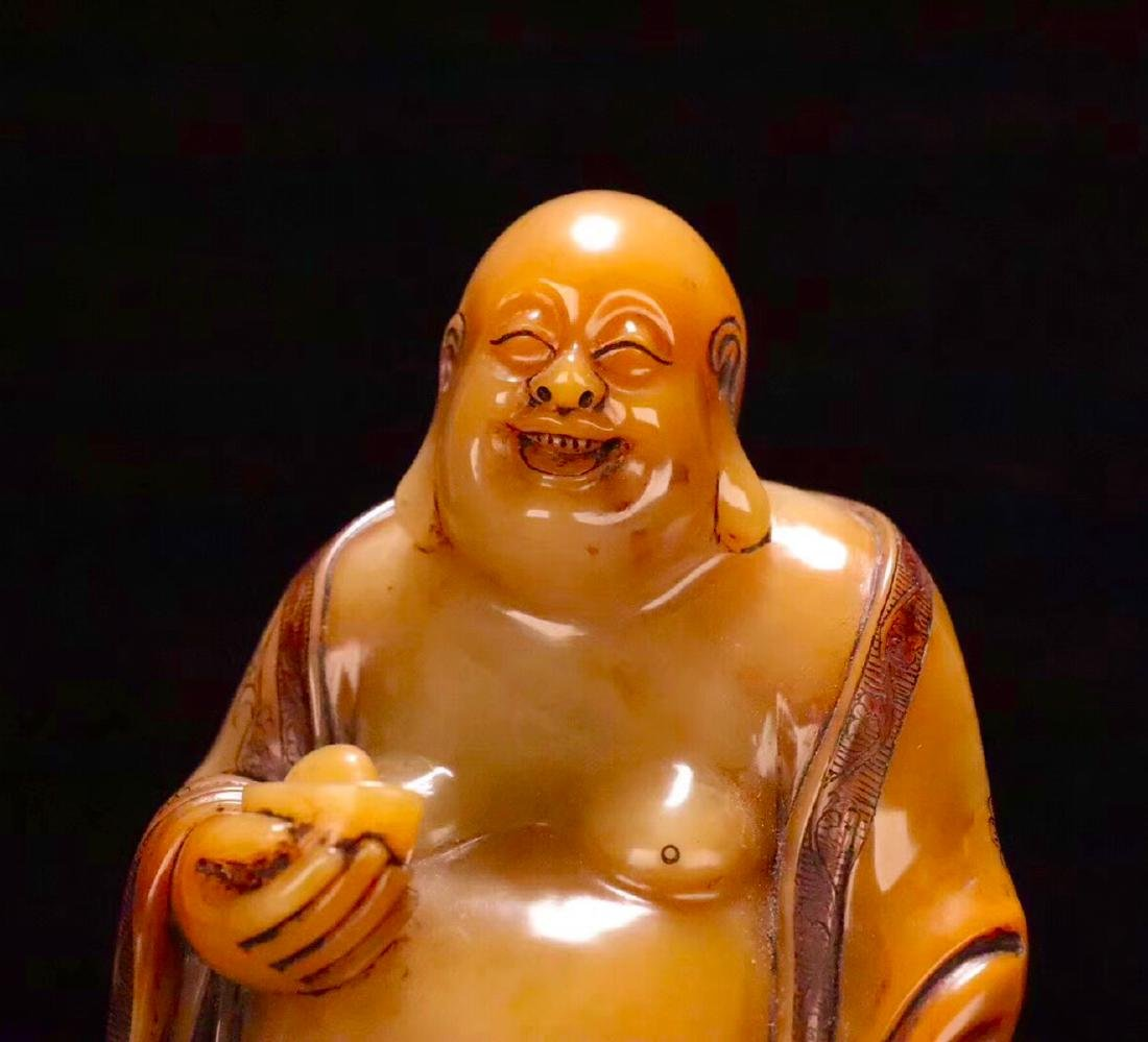 A TIANHUANG STONE CARVED LAUGHING BUDDHA FIGURE - 5