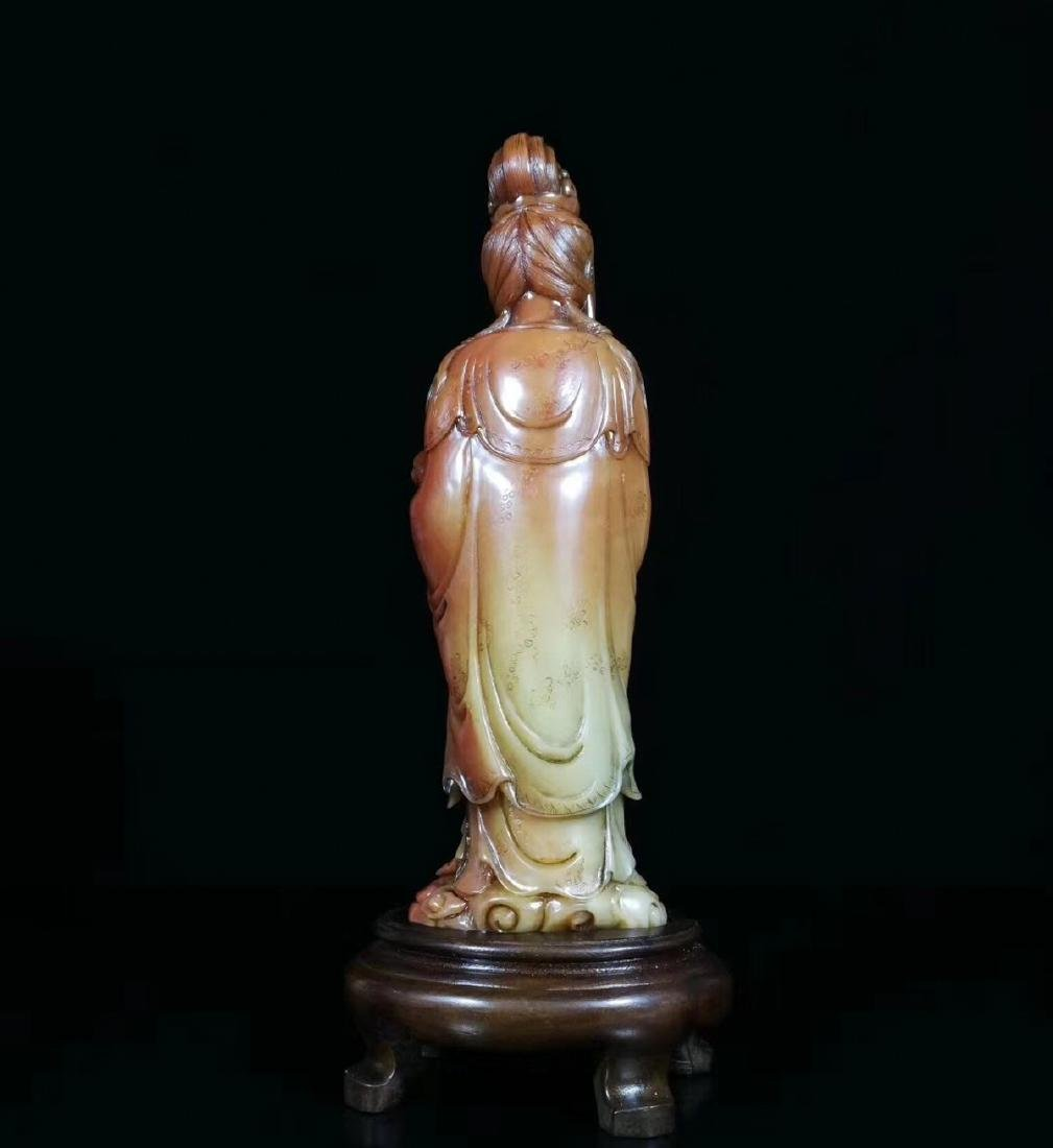 A SOAPSTONE CARVED GUANYIN FIGURE - 2