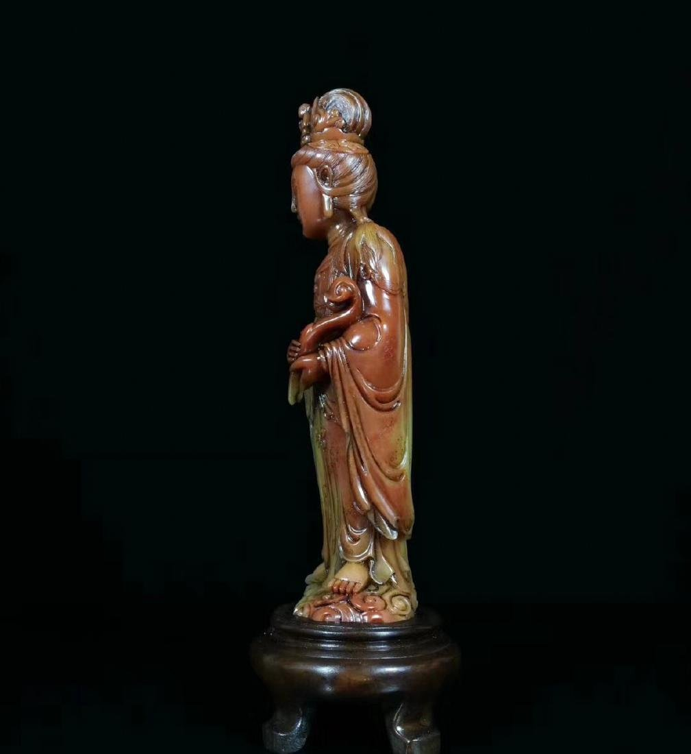 A SOAPSTONE CARVED GUANYIN FIGURE - 3