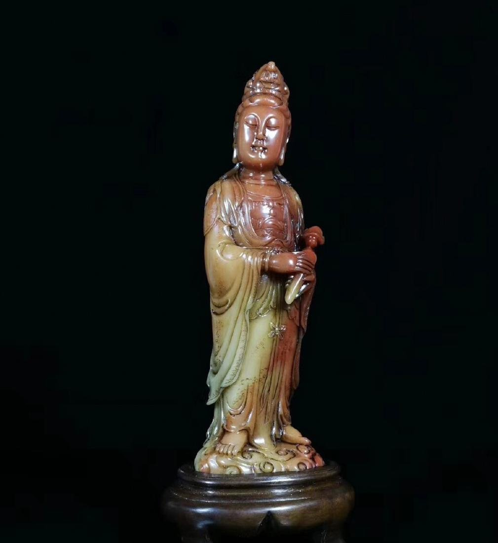 A SOAPSTONE CARVED GUANYIN FIGURE - 5