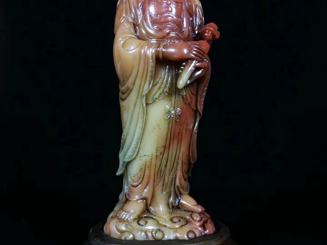 A SOAPSTONE CARVED GUANYIN FIGURE - 7