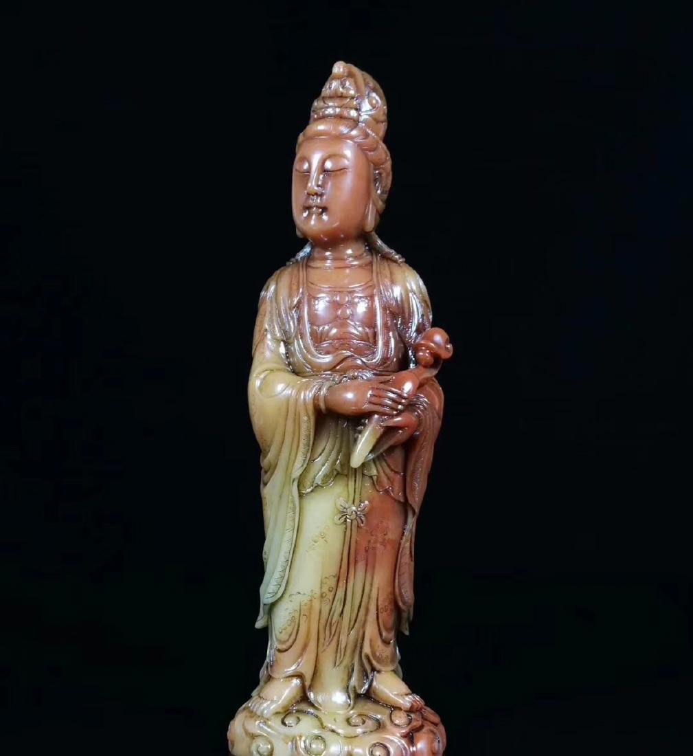 A SOAPSTONE CARVED GUANYIN FIGURE - 9