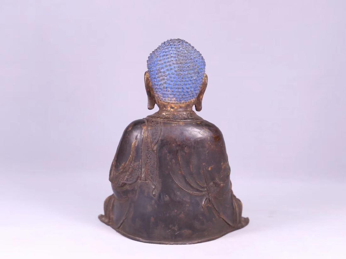 A GILT BRONZE CARVED BUDDHA - 3