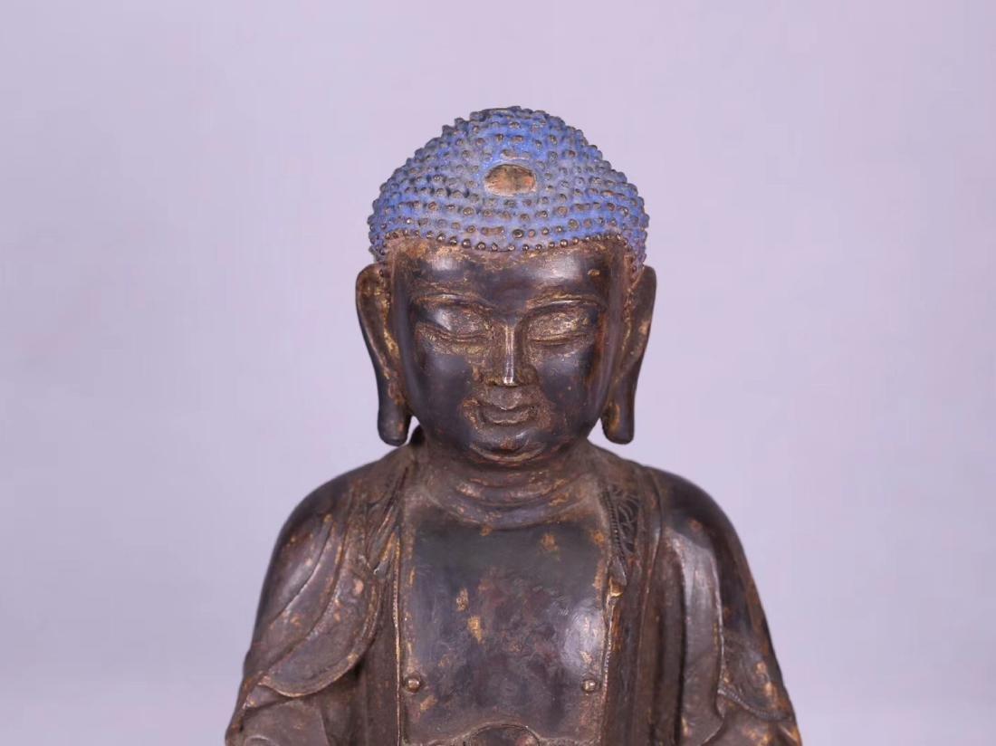 A GILT BRONZE CARVED BUDDHA - 5