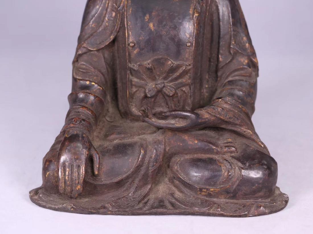 A GILT BRONZE CARVED BUDDHA - 6