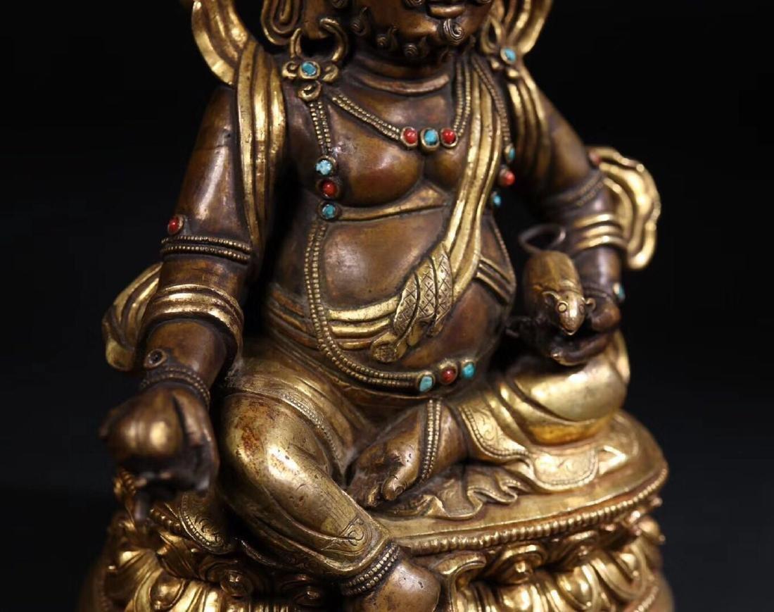 A GILT COPPER WEALTH BUDDHA - 3