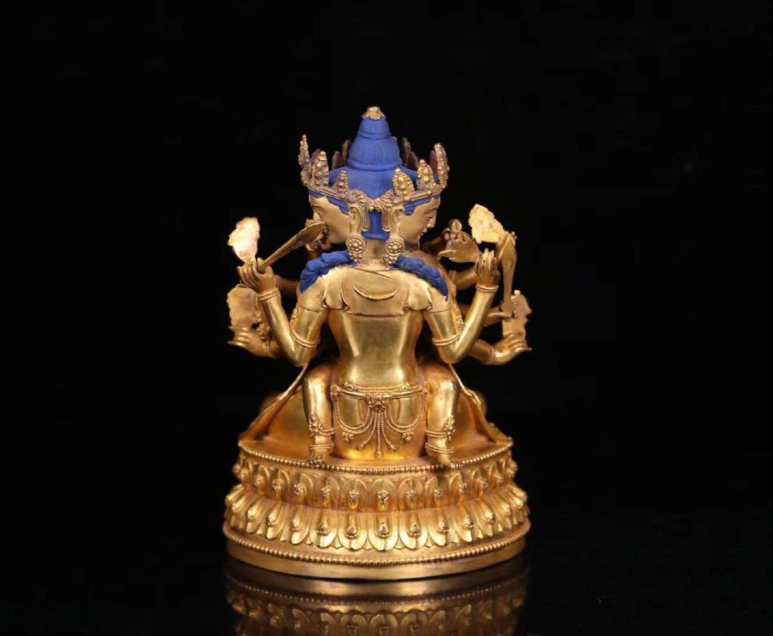A GILT BRONZE HUANXI BUDDHA WITH MARK - 4