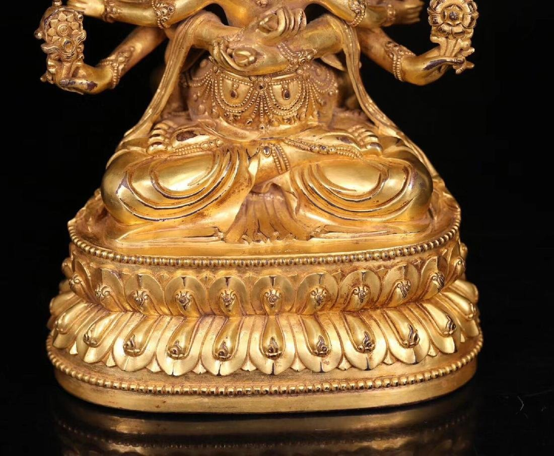 A GILT BRONZE HUANXI BUDDHA WITH MARK - 5