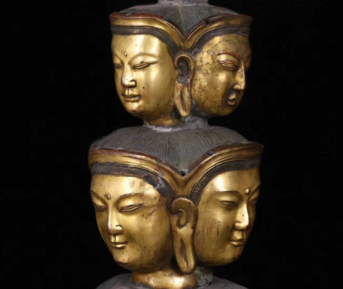 A GILT BRONZE MOLDED ELEVEN FACE SHAPED BUDDHA STATUE - 2