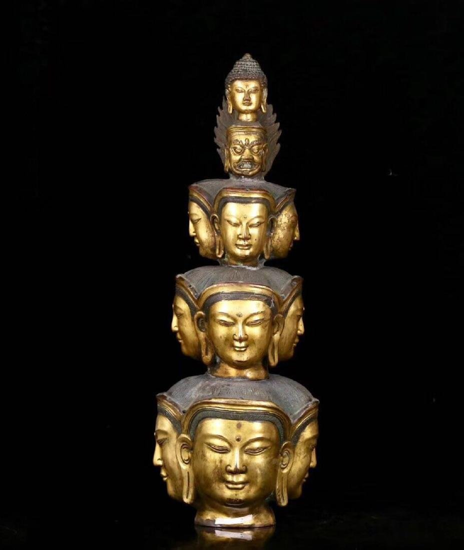 A GILT BRONZE MOLDED ELEVEN FACE SHAPED BUDDHA STATUE - 7