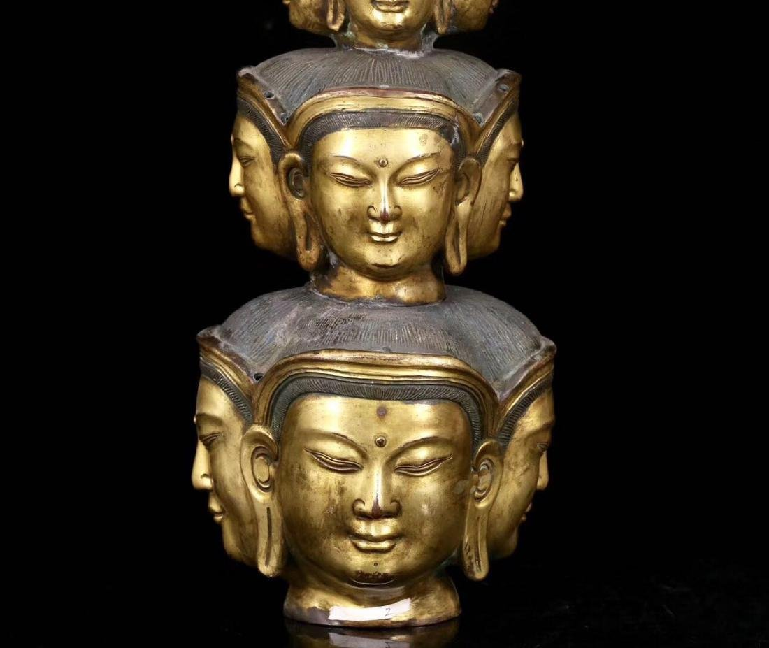 A GILT BRONZE MOLDED ELEVEN FACE SHAPED BUDDHA STATUE - 8