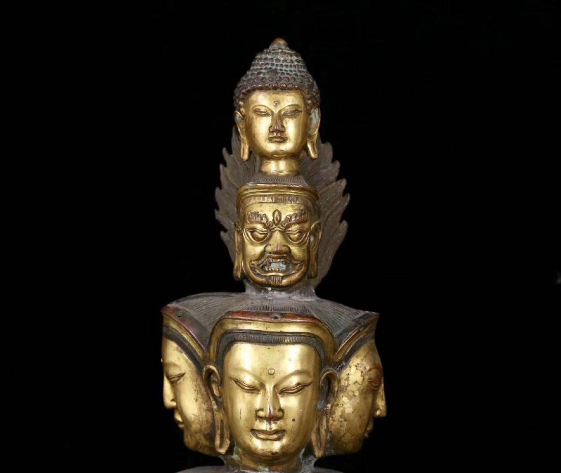A GILT BRONZE MOLDED ELEVEN FACE SHAPED BUDDHA STATUE - 9