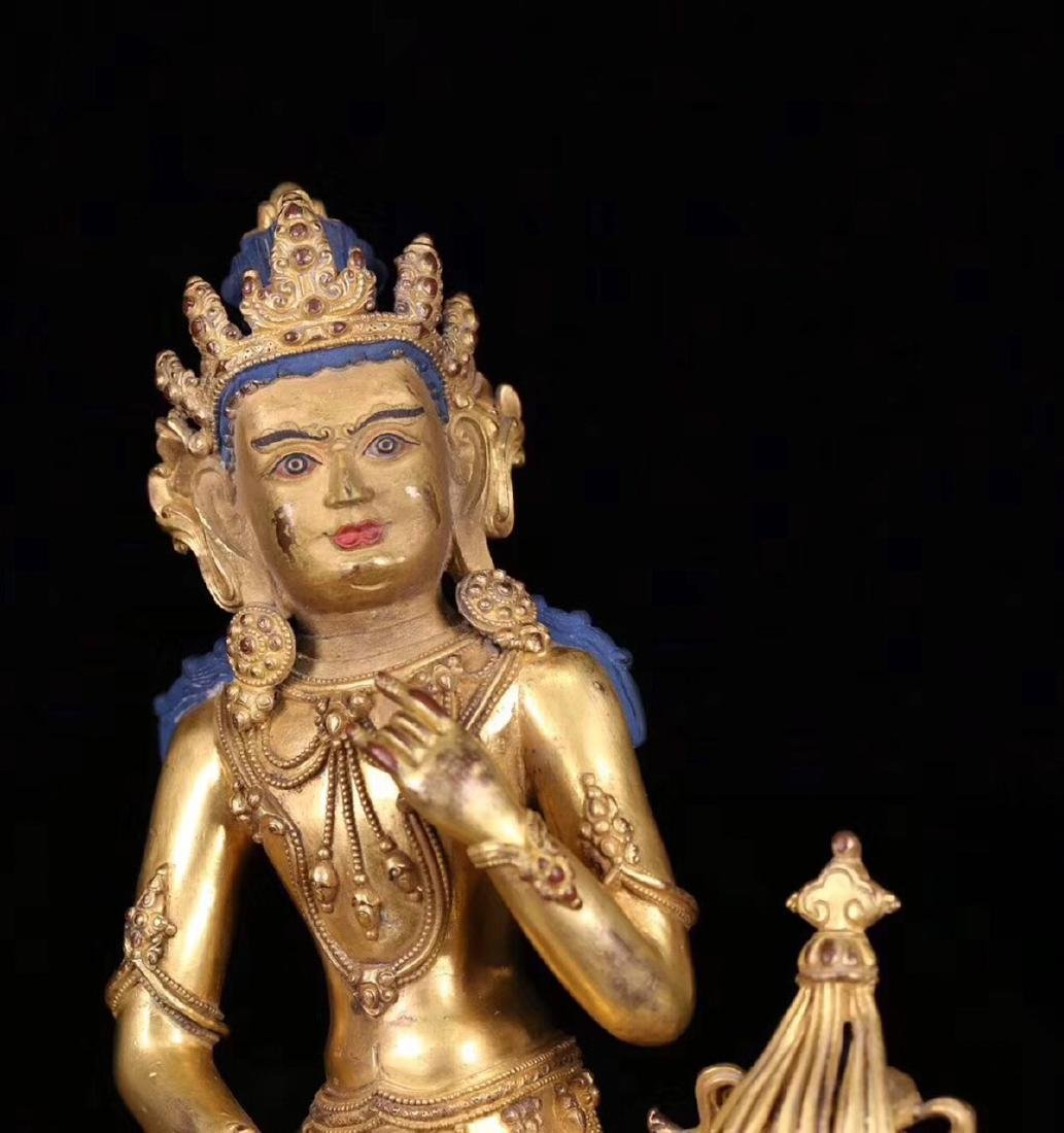 A GILT BRONZE MOLDED BUDDHA STATUE WITH MARK - 5