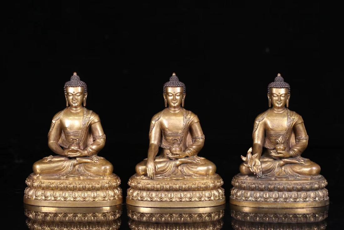 SET GILT COPPER BUDDHAN ORNAMENT