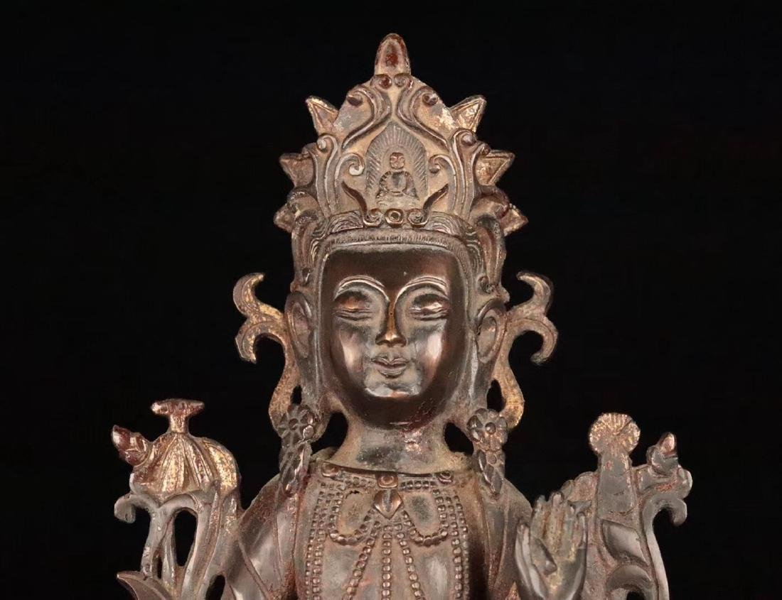 A TIBETAN GILT BRONZE BUDDHAN ORNAMENT - 5