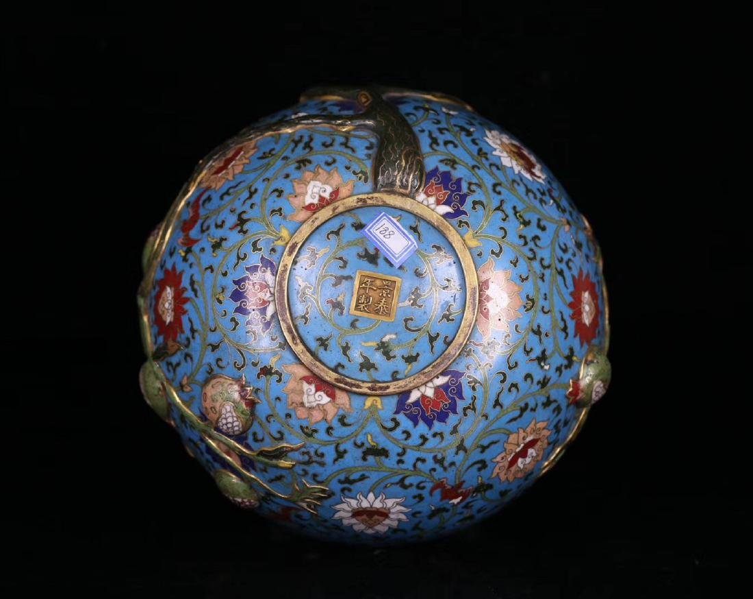 A COPPER CRAVED CLOISONNE POMERGRANATE VASE - 4