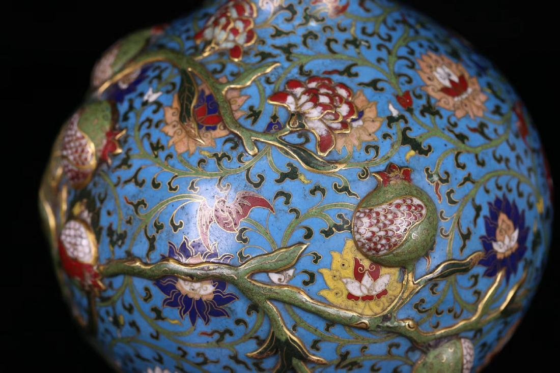 A COPPER CRAVED CLOISONNE POMERGRANATE VASE - 8
