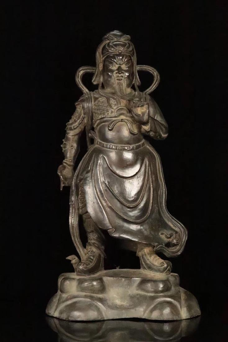 AN OLD COPPER CAST GUANGONG STATUE