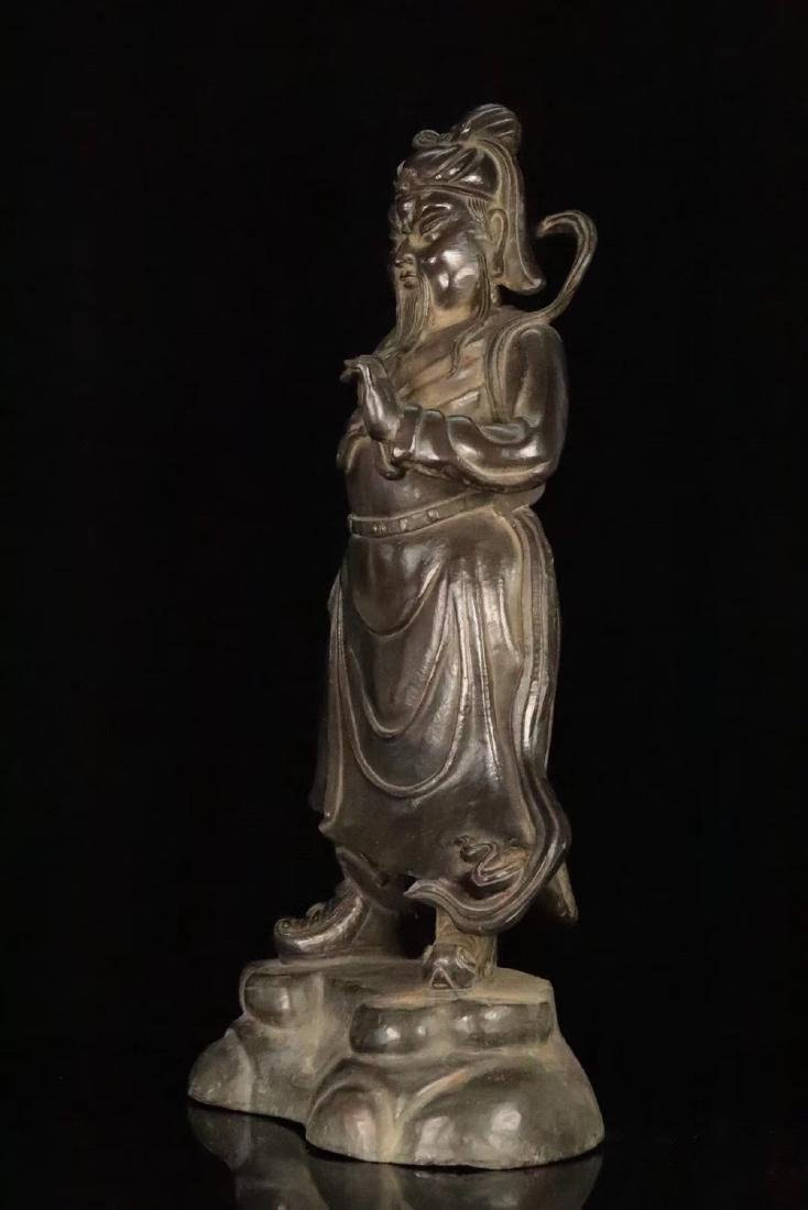 AN OLD COPPER CAST GUANGONG STATUE - 2