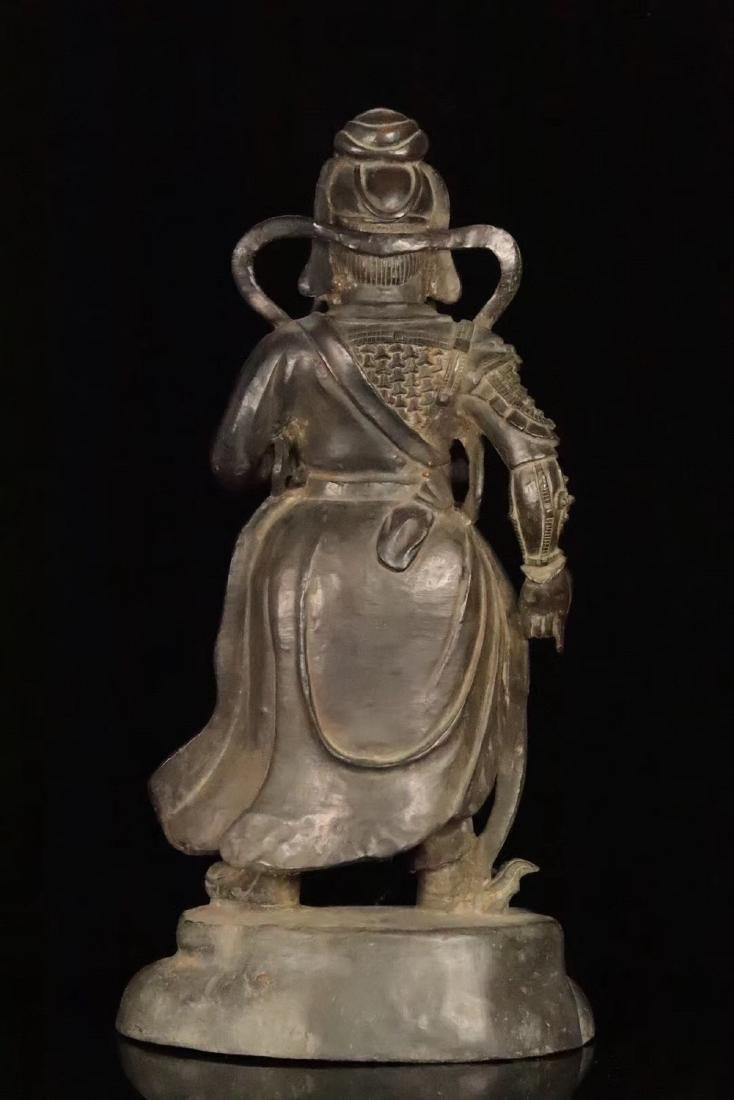 AN OLD COPPER CAST GUANGONG STATUE - 3