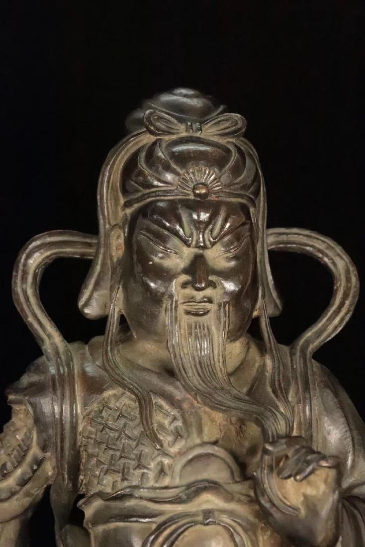 AN OLD COPPER CAST GUANGONG STATUE - 4
