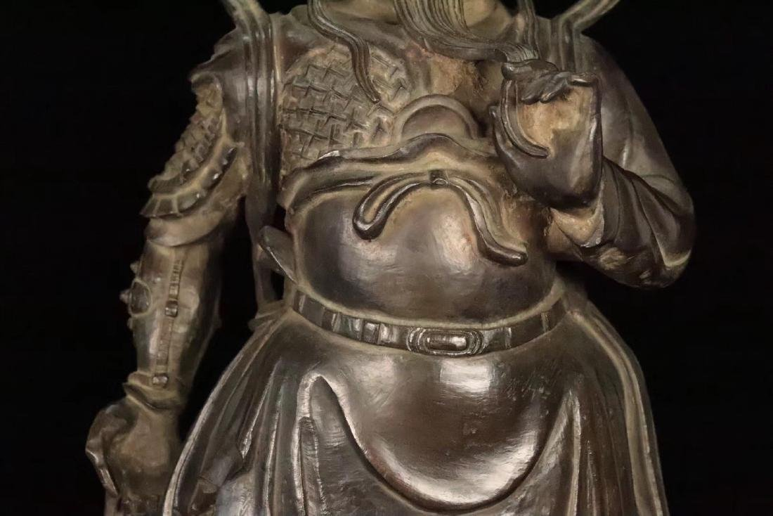 AN OLD COPPER CAST GUANGONG STATUE - 5