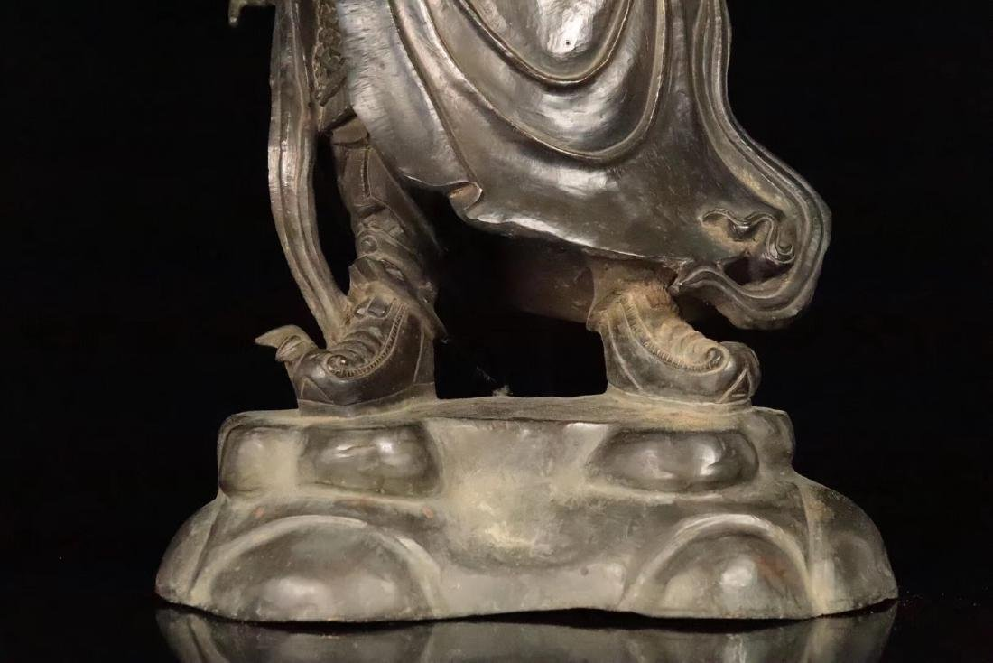 AN OLD COPPER CAST GUANGONG STATUE - 6