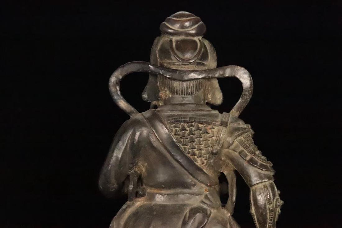 AN OLD COPPER CAST GUANGONG STATUE - 7