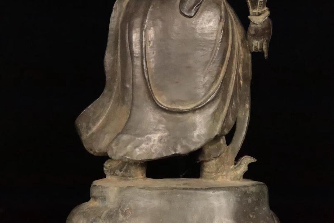 AN OLD COPPER CAST GUANGONG STATUE - 8