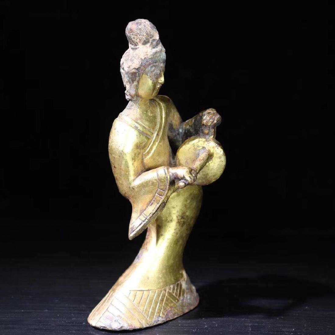 A GILT BRONZE LADY FIGURE - 2